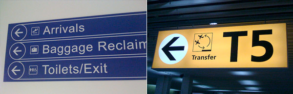 Cardiff International Airport signage compared to Amsterdam Schiphol airport