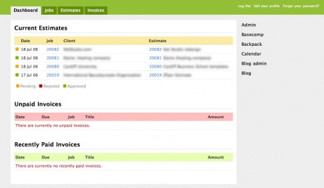 Screenshot of the dashboard showing pending estimates