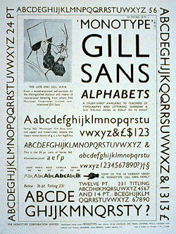 Image showing Monotype's orginal poster for Gill Sans