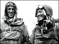 Hillary and Tenzing following their successful attempt on Mount Everest
