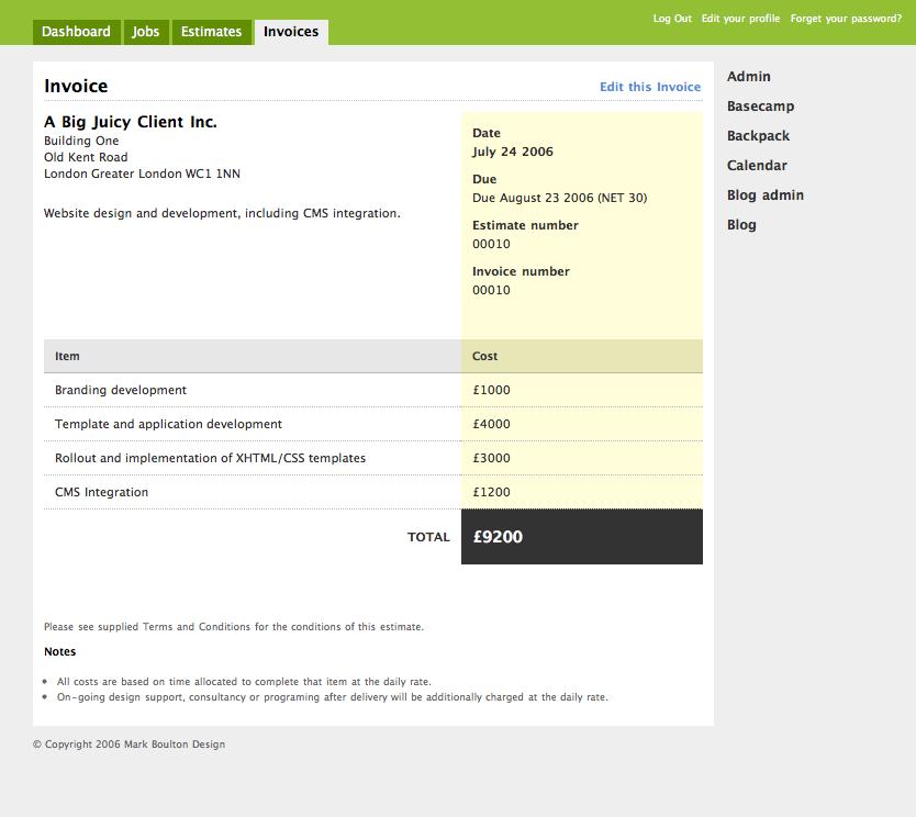 freelance graphic design invoice – residers, Invoice examples