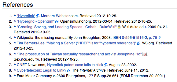 Wikipedia example showing icons in list items